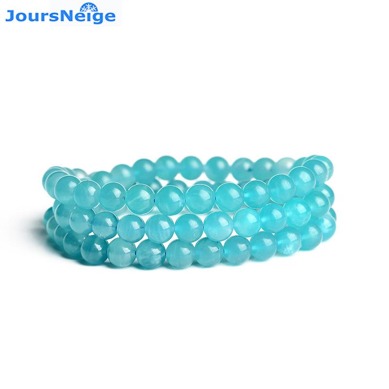 ff16739cf73ae Light Blue Tianhe Natural Stone Bracelets 6mm Round Bead Bracelet Lucky for  Women Lovers Crystal Multilayer Jewelry JoursNeige
