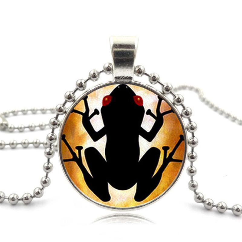 XUSHUI XJ Puerto Rican Coqui Glass Cabochon Pendant Necklace Fashion Jewelry Black Chain Beads Long Necklaces for Women