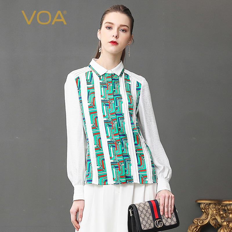 4bc649deaf306 2019 VOA Silk Jacquard Blouse White Slim Office Shirt Plus Size 5XL Women  Tops Long Sleeve Basic Formal Summer Print Casual B336 From Modleline