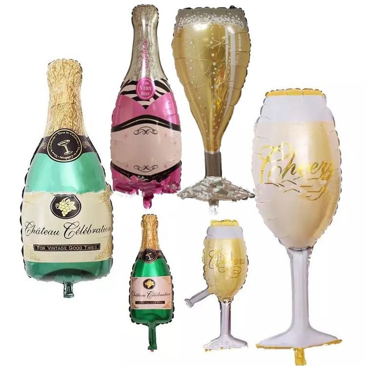 6 Styles Grand Ballons Champagne Champagne Anniversaire Bouteille De Vin Et Coupe Ballon Valentine S Day Anniversaire Paty Décor T2i235