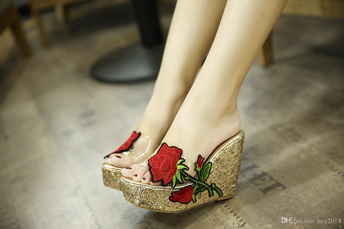 bb57fb1a5c7802 Summer Women Sandals New Thick Bottomed Slope With Round Head Designer  Sandals 2018 Embroidery Flower High Heel Sandals Casual Shoes 0 Platform  Heels Black ...