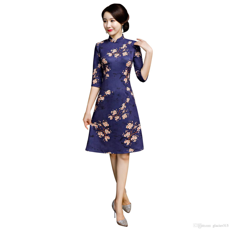 Xangai História Flor Impressão Camurça Chinês Dress 34 Manga Qipao Chinês Tradicional Dress Para As Mulheres Na Altura Do Joelho Cheongsam