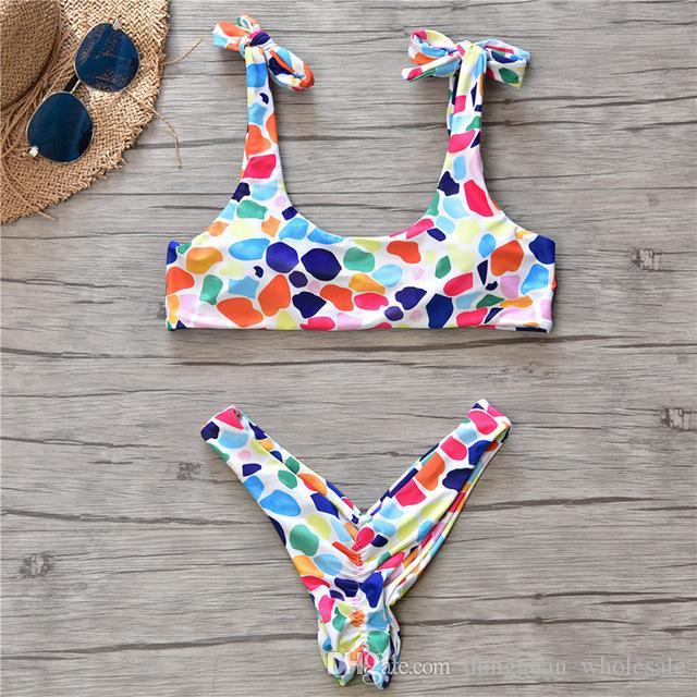 7bc53cd1f 2019 New Candy Colorful Bikini Dot Swimwear Women Sexy Beach Wear Thong Bikini  Set Swim Women's Swimsuit Brazilian Bathing Suit