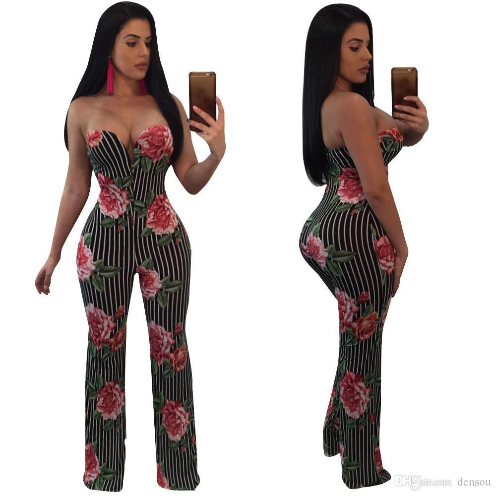 08f229bb44d5 2019 Floral Printed Wide Leg Jumpsuit Rompers Women Off The Shoulder Dressy  Loose Long Pants Strapless Jumpsuits For Ladies Overalls From Densou
