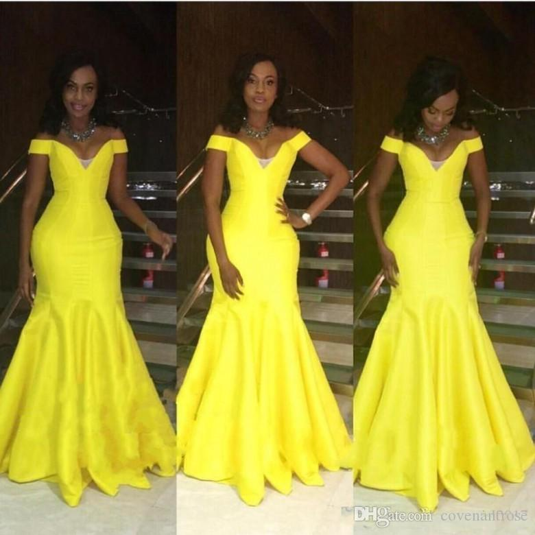 2018 Bright Yellow Prom Dresses Off Shoulder Sleeves Mermaid Floor Length Long Sexy African Brazil Women Party Evening Gown