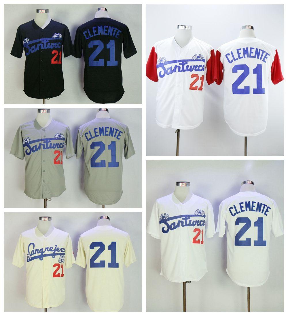 quality design e0d04 a6b5e Mens Santurce Crabbers 21 Roberto Clemente College Baseball Jersey Cheap  Vintage Roberto Clemente Stitched Baseball Shirts