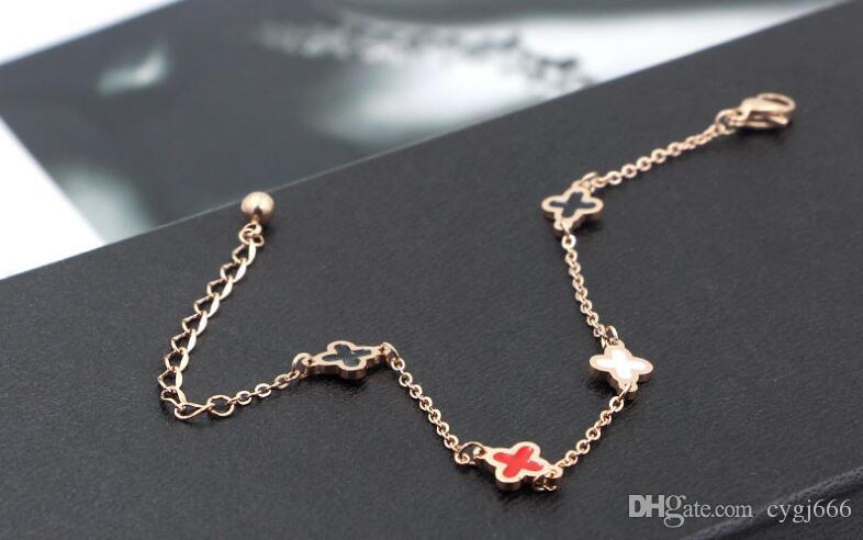Moda Kore versiyonu basit siyah ve beyaz kırmızı renk Dijiao çift taraflı Cloverleaf bilezik titanyum çelik gül altın zincir bilezik