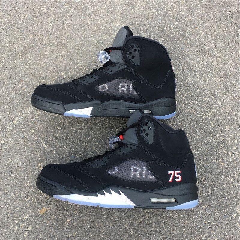 661804966ce238 2018 Newest Sale 5 BCFC Paris Saint-Germain PSG 5S Black White Challenge  Red 75 Basketball Shoes Men Authentic Sneakers With Box AV9175-001 Man  Basketball ...