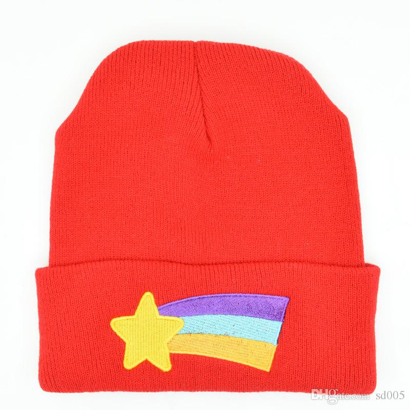 Rainbow Beanies Cartoon Cute Acrylic Knitted Hat Adjustable Man Woman  Embroidery Hip Hop Red Leisure Cap Fashion 5 8dl Bb Crazy Hats Mens Beanies  From Sd005 ... 46d5317a22e
