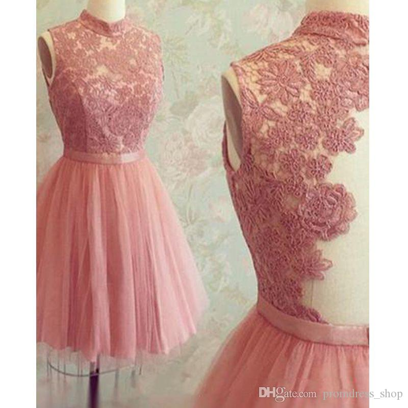 9ee0d80d400 Vintage Pink Short Homecoming Dress High Neck Lace Mini Prom Dresses Custom  Made Illusion Back Cocktail Party Dresses Long Dresses Online Red Homecoming  ...