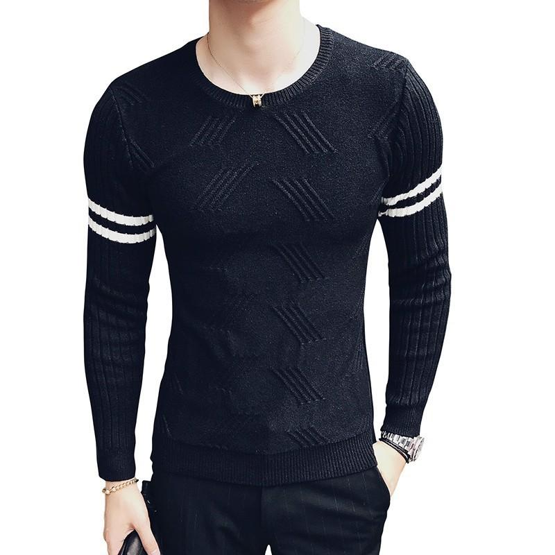 Sleeve Stripe Sweater Men Pullover Korean Men Fashion Clothing Camisolas Homens Slim Fit Sweater Hombre Male
