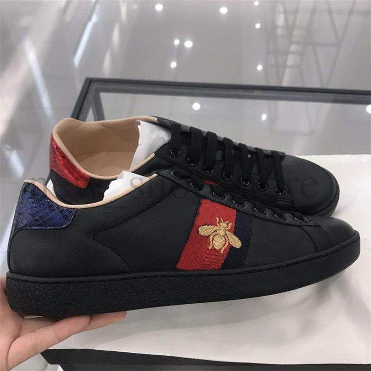 794dff6ec7a Compre Mujeres Hombres Ace Designer Shoes Negro Blanco Casual Zapatillas De  Deporte De Cuero De Abeja Bordado Rhinestone Vestido De Fiesta Vestido  Zapatos ...