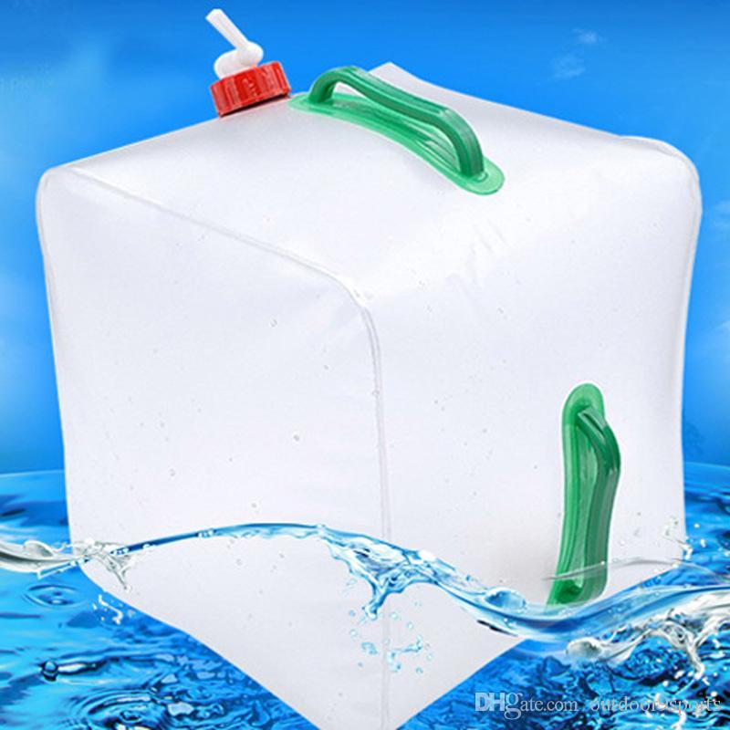Ao ar livre 20L Dobrável Saco De Água De Grande Capacidade Portátil Recipiente De Água Chaleira De Plástico Balde Camping Equipamento Garrafa De Água