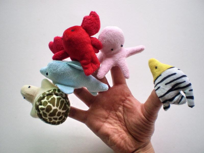 High Quality Ocean Animals Finger Puppets Plush Toys Family Story Telling Play Hand Puppets Dolls Baby Kids Educational Doll