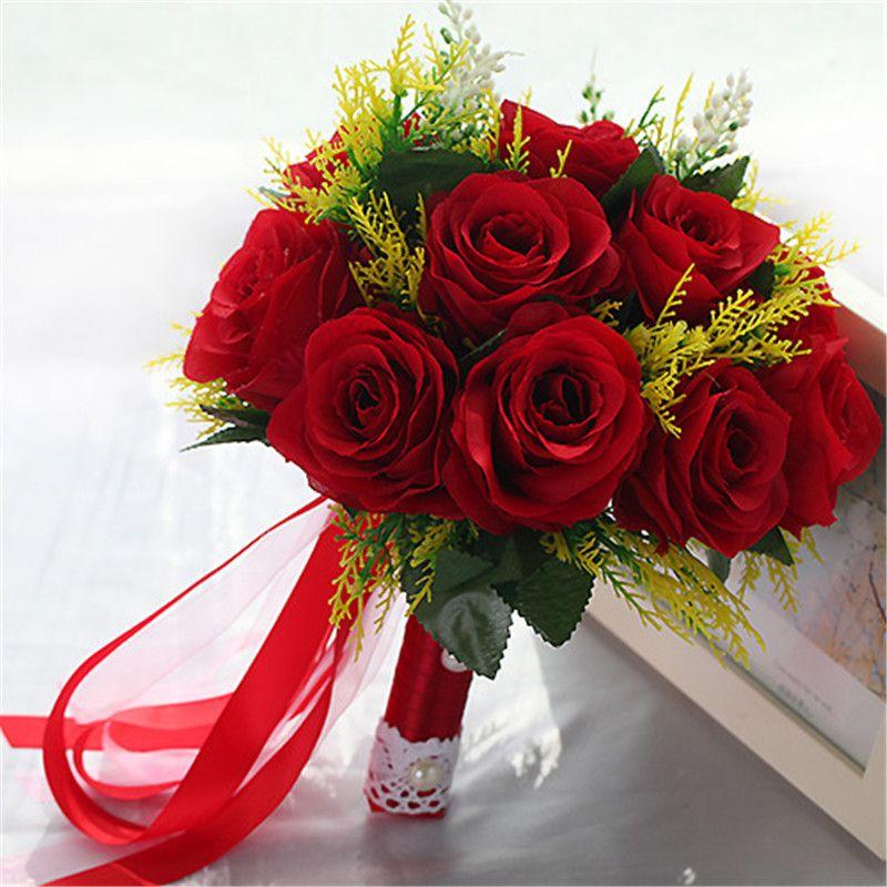 7144efd843 New Pink Wedding Bouquet Handmade Artificial Bridal Flower Rose Bouquet  casamento wedding Bouquet for Bridesmaids ramos de novia