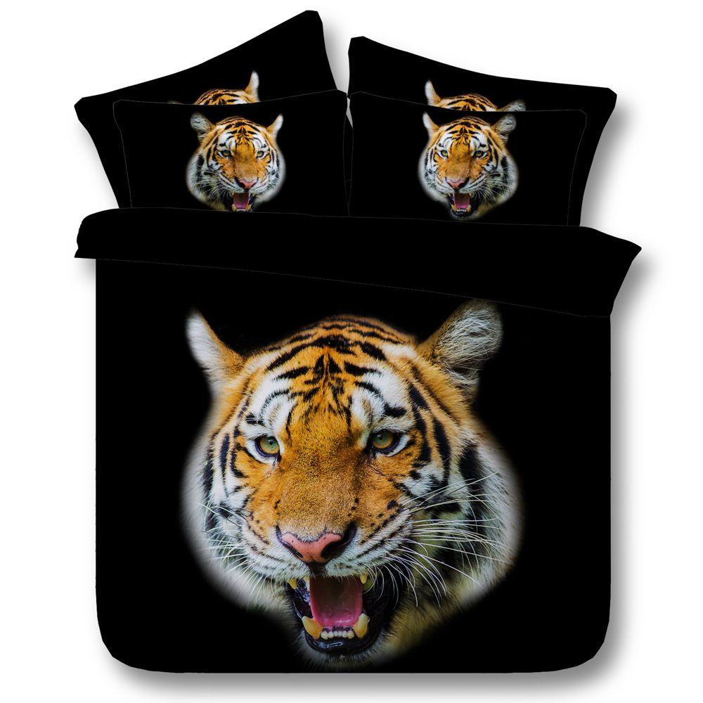 Compre 3d Tigre Negro Juegos De Cama Funda Nordica Colchas Frescas
