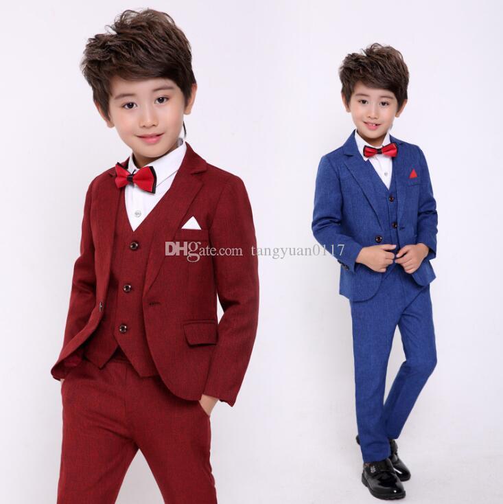 Grosshandel Jungen Anzug Hochzeit Geburtstag Party Kleid Kinder Blazer Weste Hosen 3 Stucke Tuxedo Prom Leistung Kostum Von Tangyuan0117