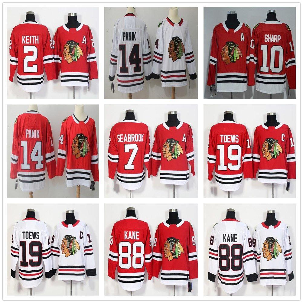 size 40 72779 8d7d2 2018 AD Chicago Blackhawks #7 Brent Seabrook Jerseys Top Quality Red White  #14 Richard Panik Jersey Stitched 10 Patrick Sharp Hockey Jerseys