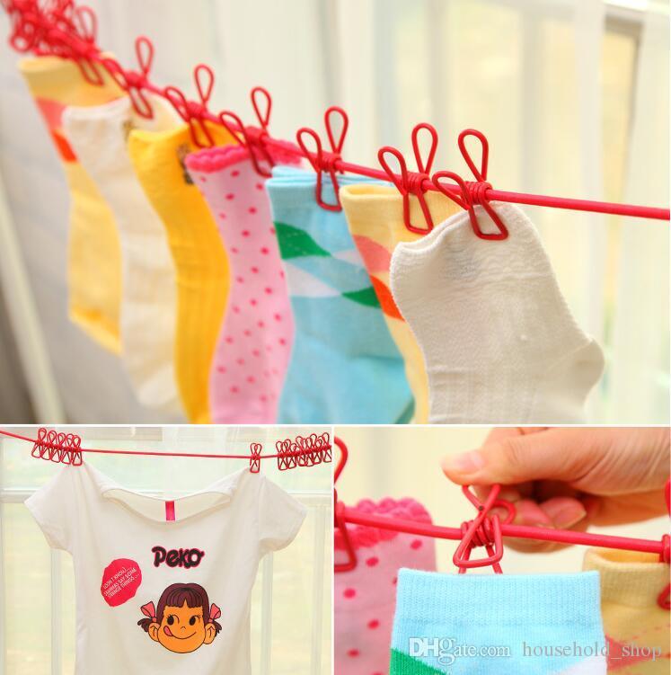 Hang Kleidung Clips String tragbare Wäscheleine mit Clip Teleskop winddicht elastische Seil mit 12 Robe Clip Haken Outdoor Camping 185cm
