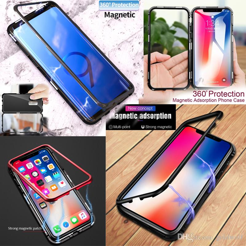hot sale online 1dd61 ac0af Phone Cases For iPhone X 9 8 7 Plus Metal Magnetic Bumper Case Back Glass  Cover For iPhone X 8 7 Plus Samsung Note9 S9 plus Huawei P20 Pro