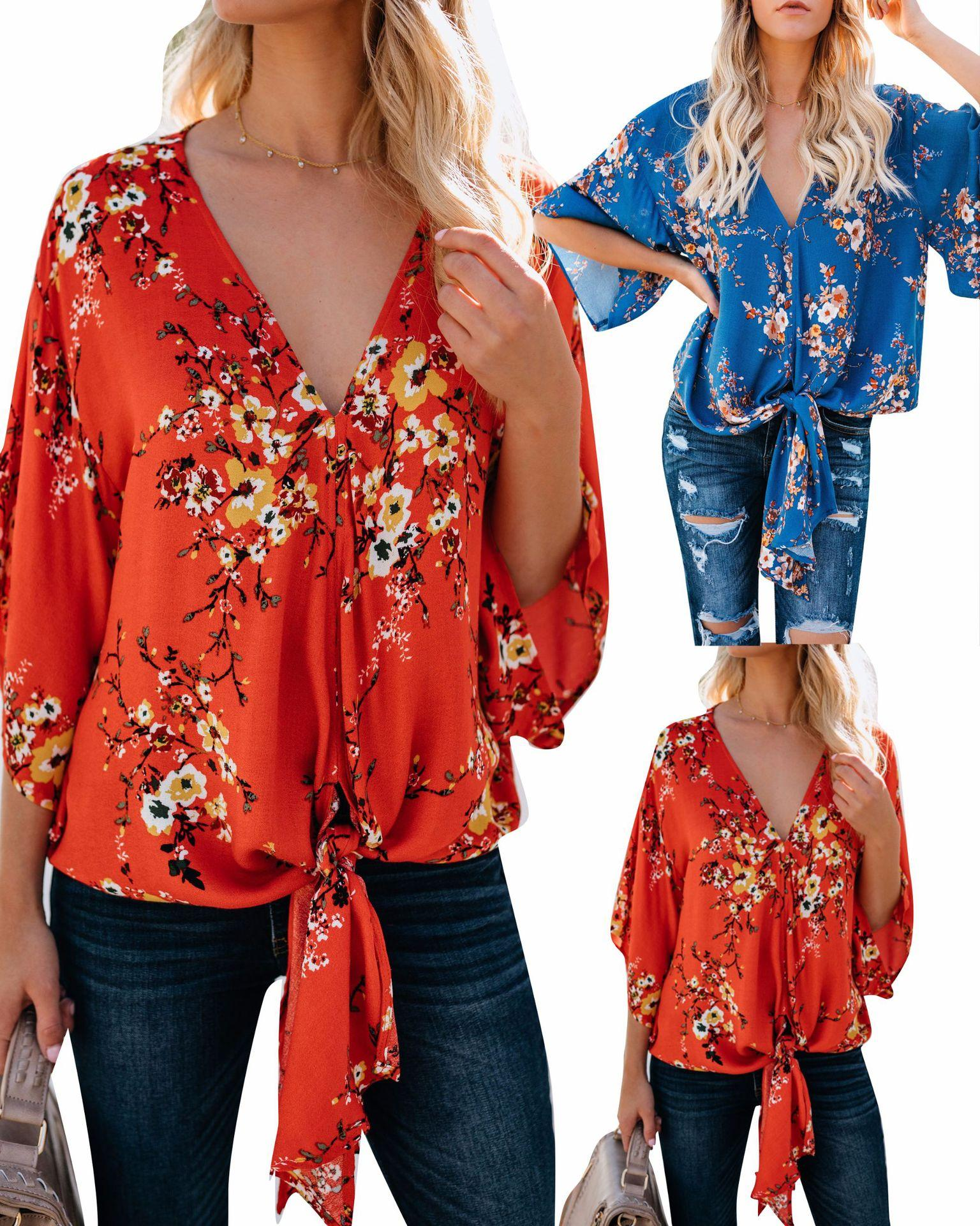 421222749ba000 Fashion Plus Size Chiffon Blouse Women Autumn Floral Shirt With Long Sleeve  Woman Sexy Shirts Clothes White Blouses Tops WG0034 Printing Tee Shirts  Cool ...
