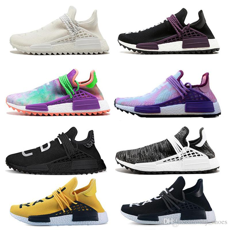 aedc0d7a7 2018 New Running Shoes Human Race Pharrell Williams Hu Trail Cream Core  Black Nerd Equality Holi Nobel Trainers Mens Women Sports Sneakers UK 2019  From ...