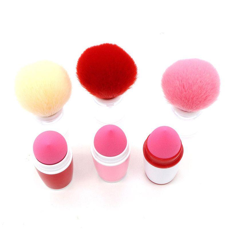 Tek Makyaj Fırçalar Sünger Ponponları Gevşek Pudra Fondöten Allık makyaj Fırça 2 in 1 kozmetik Aracı Maquillage