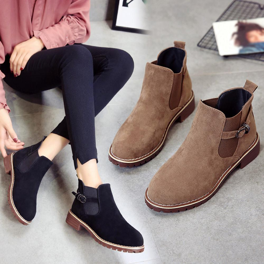 Ankle Boots For Women Winter Shoes Round Toe Flat Booties Boot Suede 2cm Buckle Strap Solid Color Martin Ladies Footwear 2018 Fashion