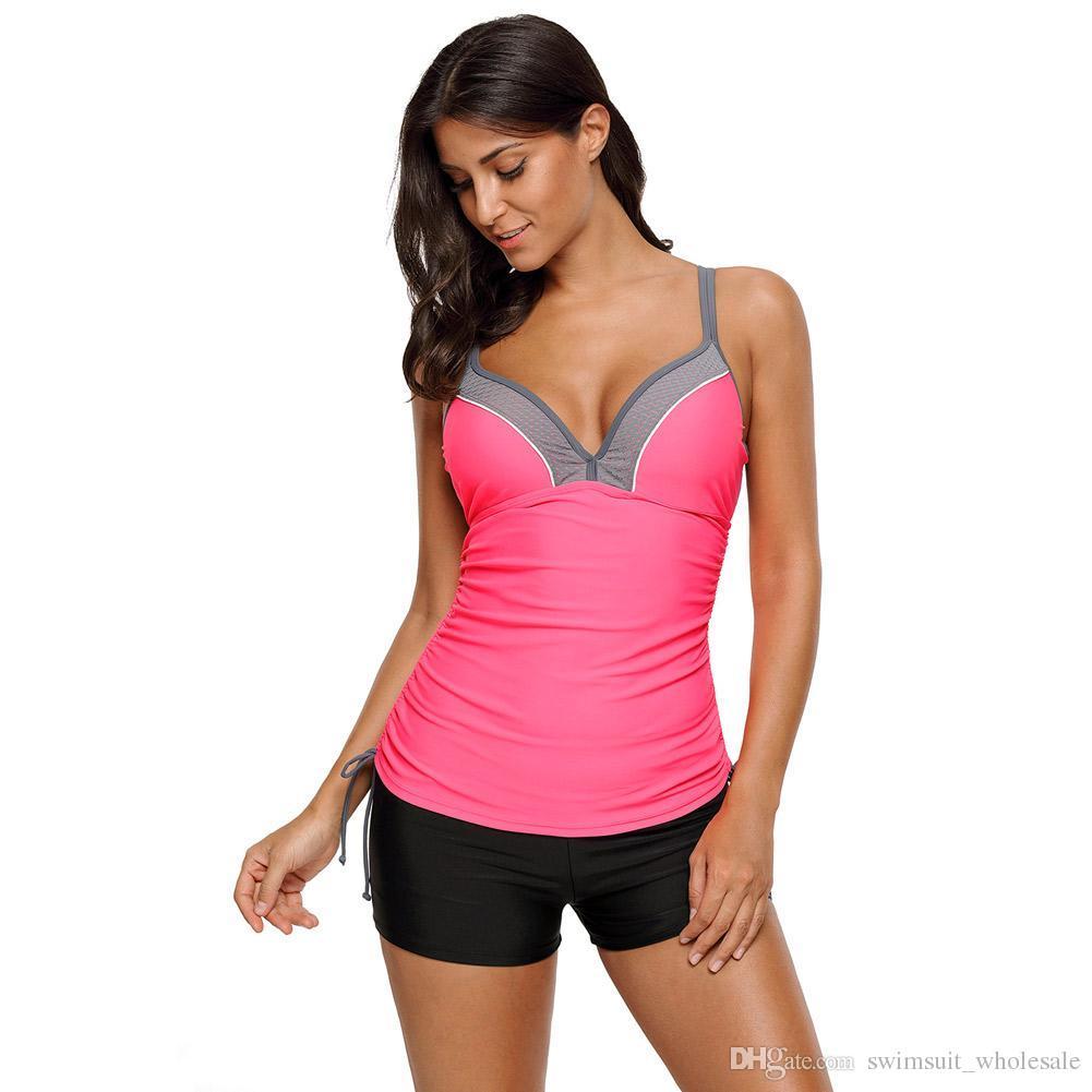 37b23faef53d0 2019 Plus Size Tankini Swimsuits Pink Bralette Tankinis Top With Shorts  Swimwear LC410451 Women New Bikini Set Bathing Suits From  Swimsuit wholesale