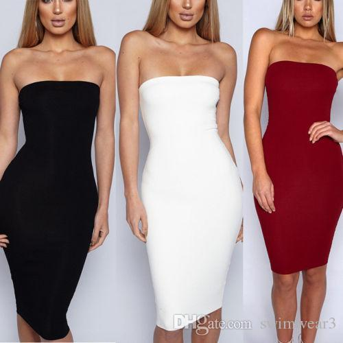 60b300566c1 Women Sexy Sleeveless Solid Boob Tube Top Dress Evening Party Stretch  Pencil Knee Length Dresses Long Dresses For Summer Maxi Dress All White  Summer Dress …