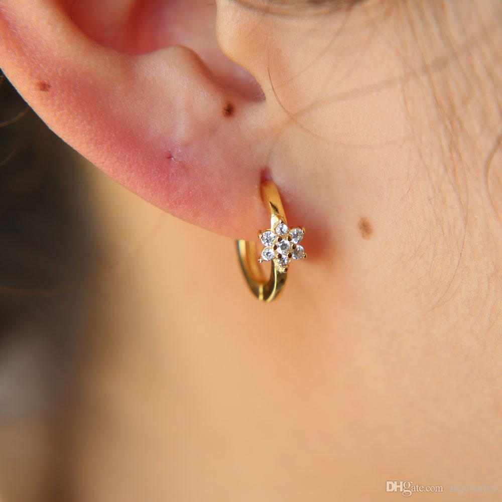 1bb9f77ff 2019 Tiny Star Hoop Earrings With Cz Paved Flower Shape Gold Silver Earrings  For Women Girl Lady Jewelry Gift From Zejewelry, $8.93 | DHgate.Com