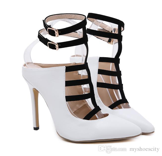 Sexy Patchwork Black White T Strappy Pointed Toe High Heels Pumps Office  Lady Work Shoes 12cm Size 35 to 40 Designer Women Heels Luxury Heels Shoes  Women ... 3be2e08f0edc