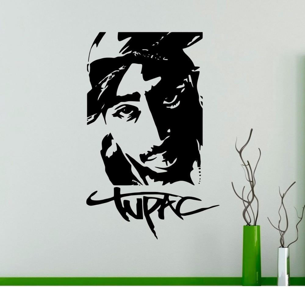 Rap Hip Hop Music Wall Decals Tupac Wall Vinyl Sticker Removable Wallpaper For Dorm Studio Bar Room Decor Wall Stickers For Baby Room Wall Stickers For ...