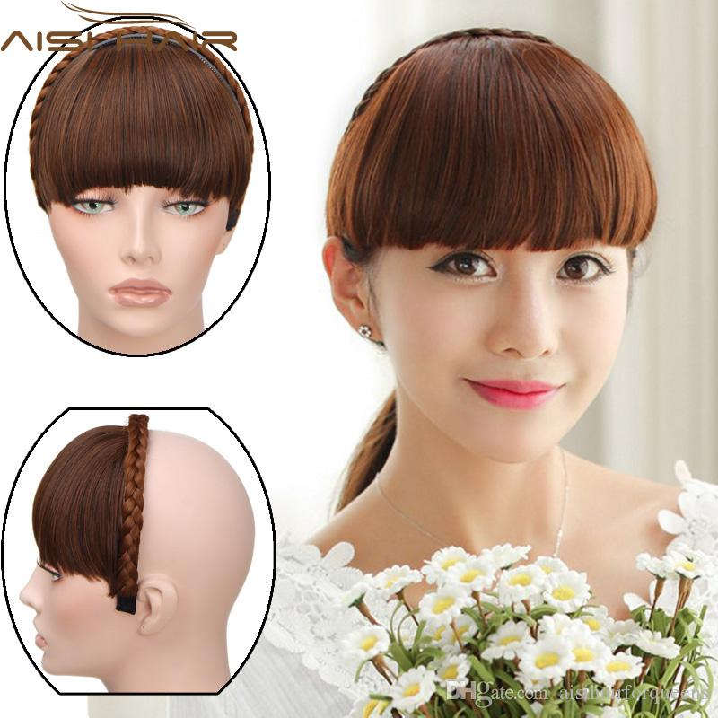 Apply Hair Braid Band Neat Bangs Fake Hair Extension Hairpieces