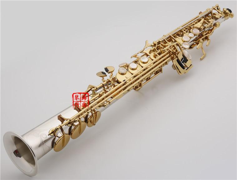 YANAGISAWA W037 Saxofón soprano Latón Plateado Tubo de oro Llave del saxofón con boquilla Cañas Cuello doblado Envío gratis
