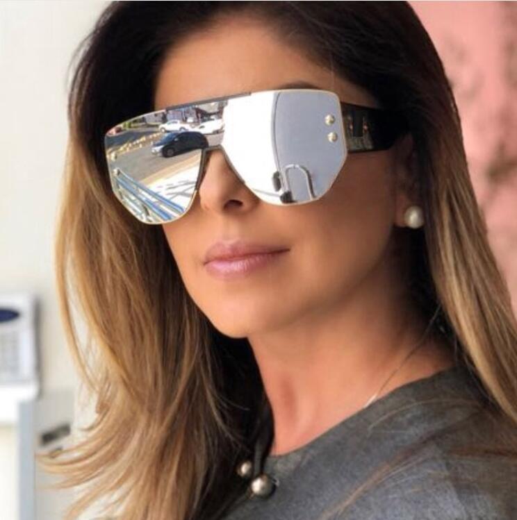 9b1c21066 Compre HBK Mulheres Moda Quadrado Óculos De Sol 2019 Novo Estilo Na Moda  Big Frame Espelho Óculos Shades Óculos Para Mulheres Dos Homens UV400 De ...