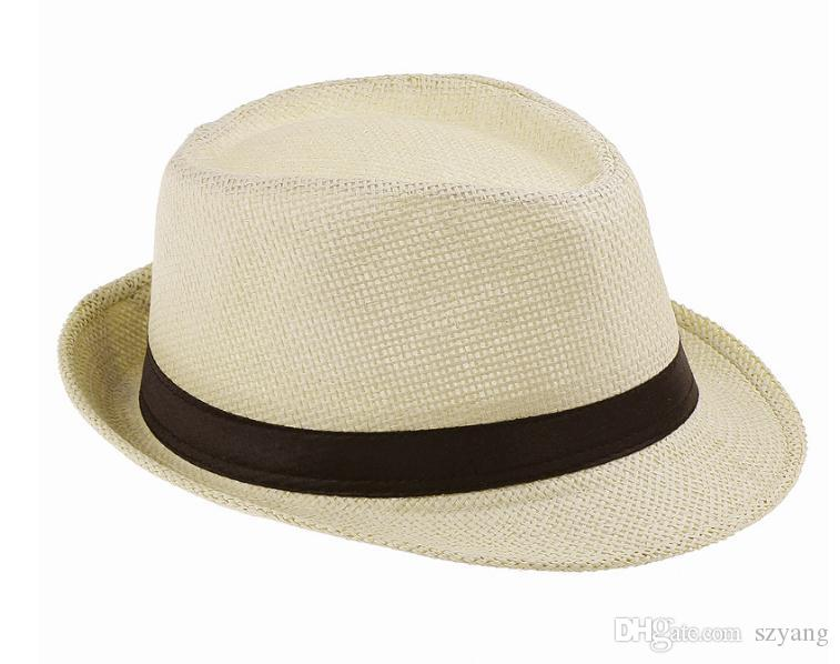 200pcs/lot Fashion Womens Mens Unisex Fedora Trilby Gangster Cap Summer Beach Sun Straw Panama Hat Couples Lovers Hat SN1203