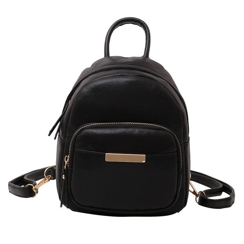 43f7208c43d Backpacks Female Girl Pure Color Leather School Bag Black Backpack Satchel  Women Travel Shoulder Bag Women s Rucksack A5 Jansport Big Student Backpack  ...