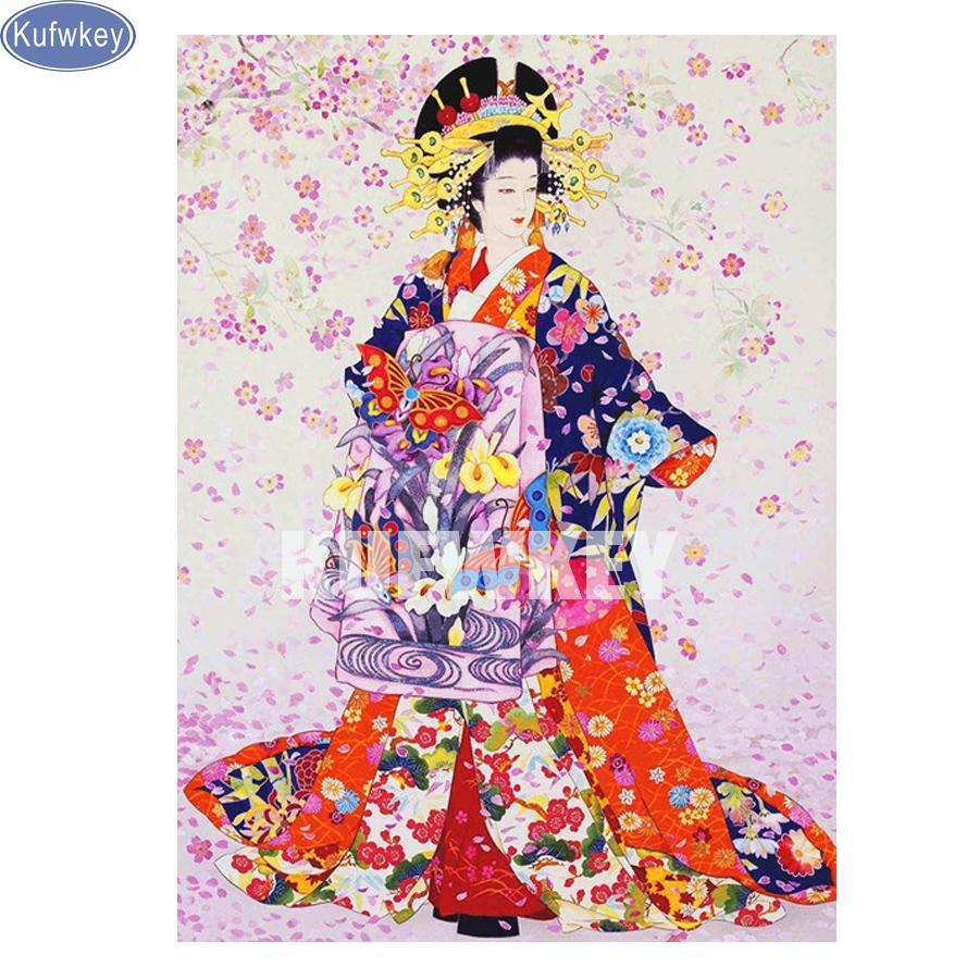 Satın Al Toptan Japonya Kız Mozaik Resim Elmas Nakış Diy Elmas