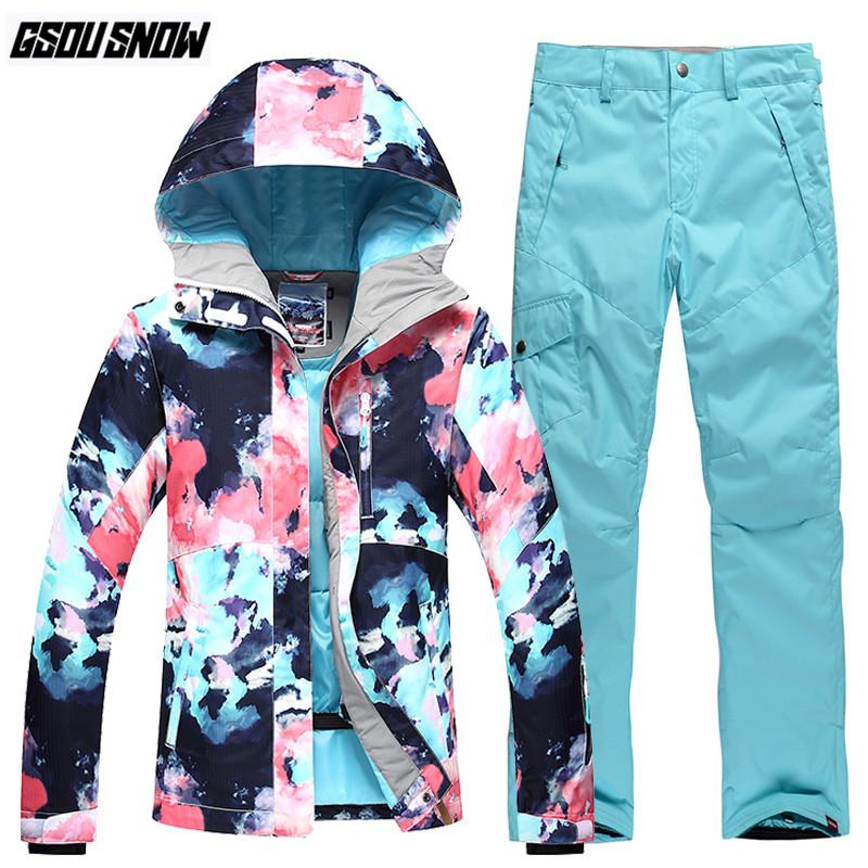 353add3491 2019 GSOU SNOW Brand Ski Suit Women Skiing Jackets Snowboarding Pants  Winter Warm Snow Suit Outdoor Jacket Female Waterproof Clothes From  Dragonfruit