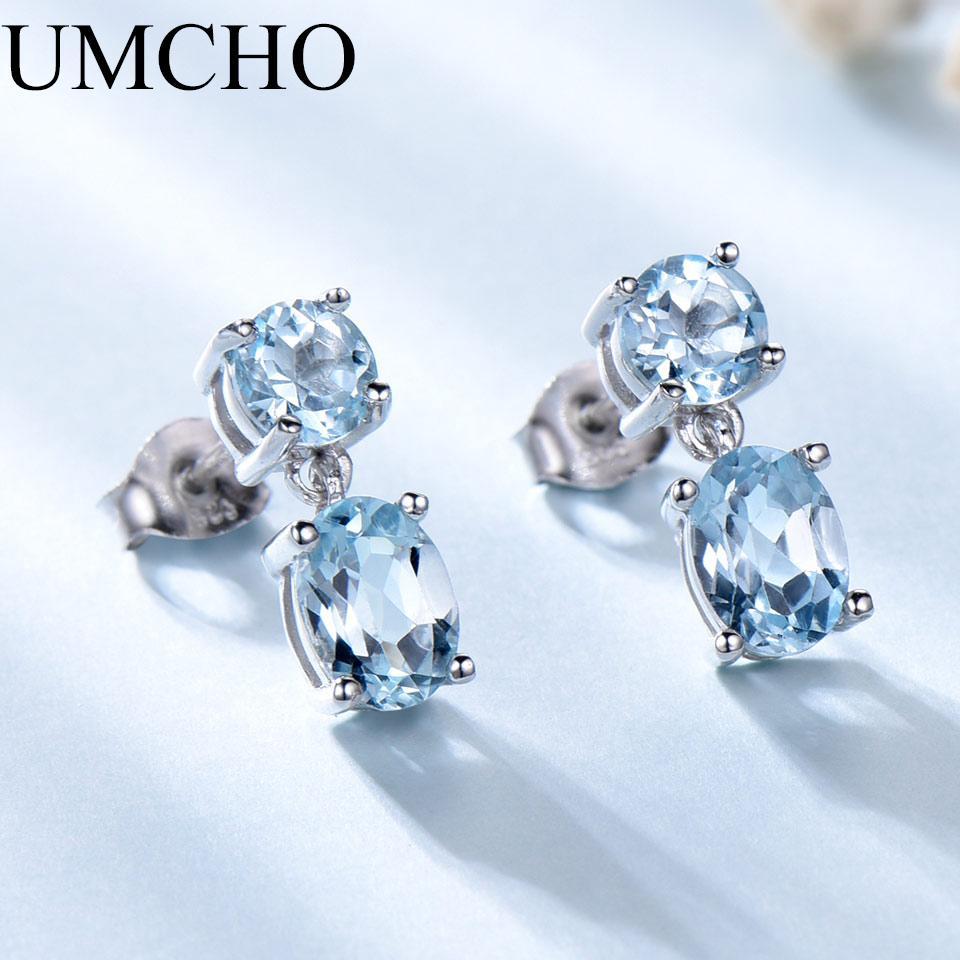 a719111df 2019 UMCHO 100% Natural Sky Blue Topaz Gemstone Drop Earrings 925 Sterling  Silver Korean Gemstone Earrings For Women Fine Jewelry From Tiebanshao, ...