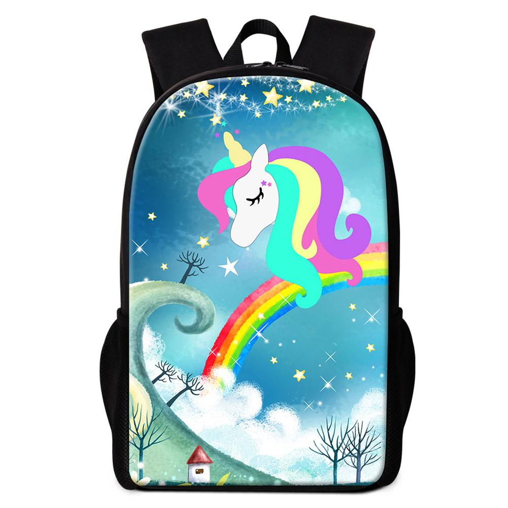 Unicorn With Rainbow Backpack To School Girls Designer School Bags Women  Outdoor Shoulder Bag Female Mochila Escolar Kids Bookbags Backpacks  Waterproof ... 7638313ee0c60