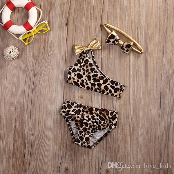 Hot sale kids baby girl clothes leopard bikini set swimwear swimsuit bathing suit top quality