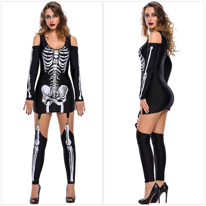 Adult Women Halloween Scary Skeleton Costume Outfit Ghost Demon