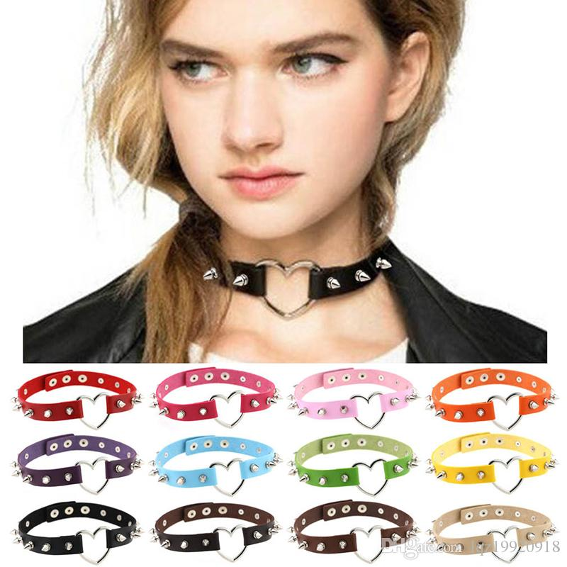 Leather choker necklace 15 colors Punk style heart shaped neck decorations  fashion Collar necklace for women free shipping ac9e379342f99