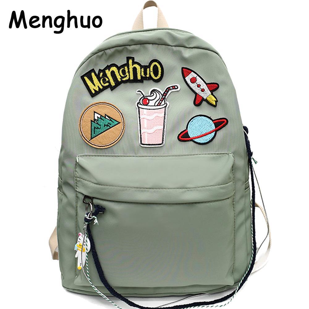 2018 MENGHUO Brand Design Badge Women Backpack Bag Fashion School Bag For Girls  Female Chain Backpack Lady Shoulder S Book Bags Herschel Backpacks From ... 4251df75ae3b0