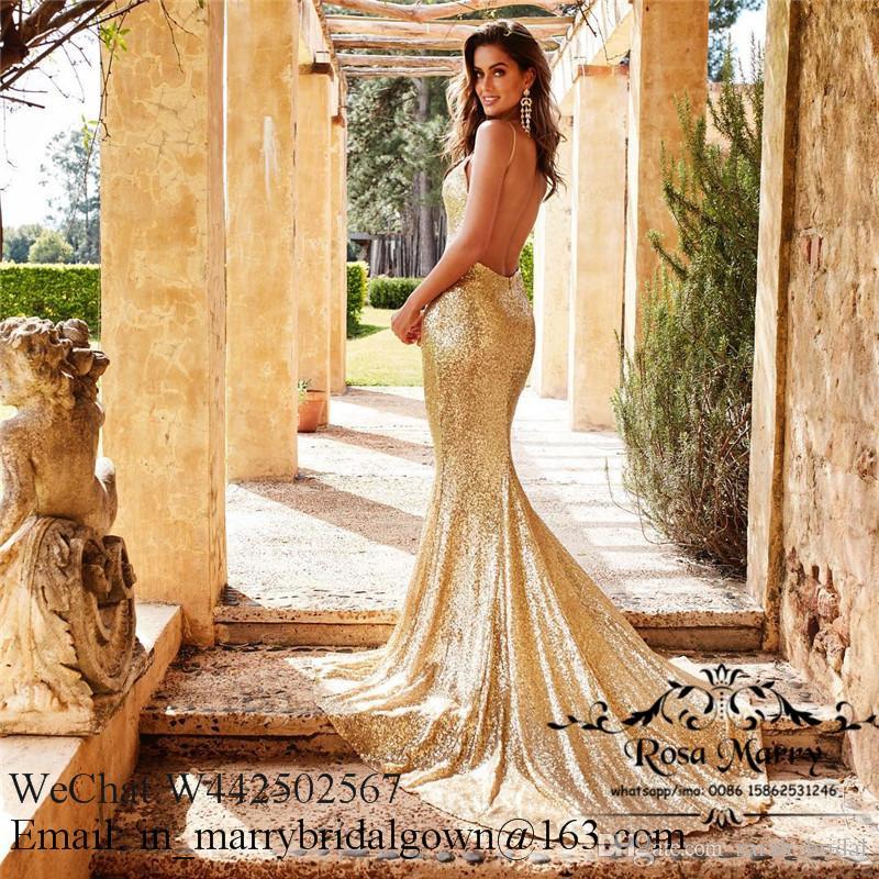 Bling Altın Payetli Mermaid Backless Gelinlik Modelleri 2020 Spagetti Sapanlar Artı Boyutu Ucuz Afrika Arapça Örgün Mezuniyet Akşam Parti törenlerinde