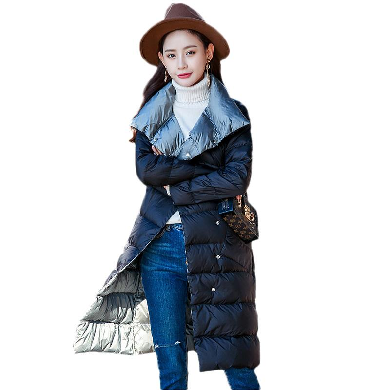 6f7cc3031dfc 2019 Women Winter Light Down Jacket Double Sided Wear Medium Long Coat 2018  New Slim White Duck Down Large Size Lady Outerwear DT0418 From Edward03, ...