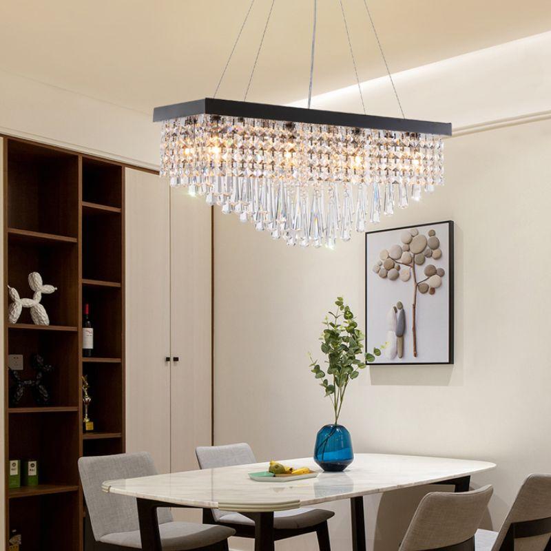 Compre Lámpara De Cristal Moderna Para Comedor Rectángulo LED Iluminación  Colgante Lámpara De Suspensión De Acero Inoxidable Negro Perla A $225.13  Del ...