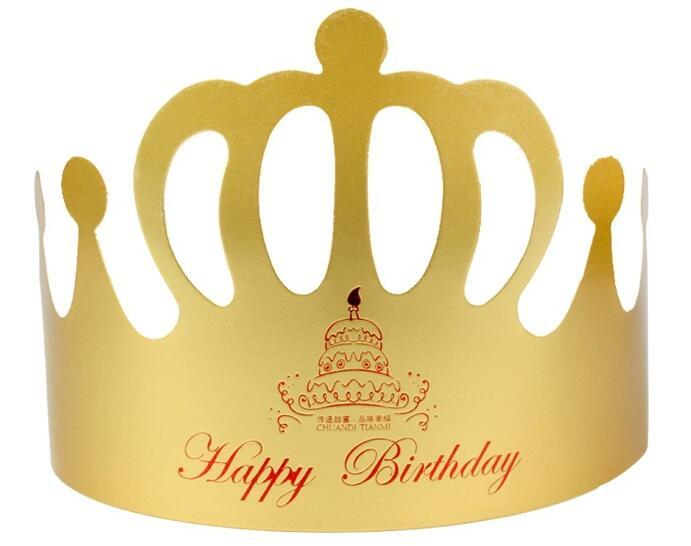 Birthday Gold Card Hat Crown Child Adult Cake Party Supplies Golden Paper DIY Decor 18th